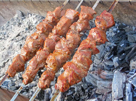 delicious red grilled meat food on charcoal in metal box, national food picnic, cooking details photo