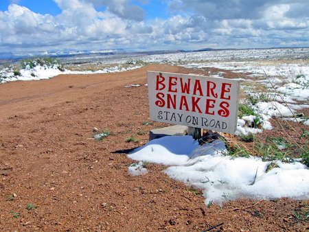 befare snakes warning sign on road, winter mountains landscape (mountains and grass under snow), clouds nature environment.  photo
