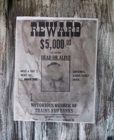 wanted danger man details. old robber of banks, vintage paper texture photo