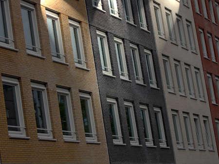 diversity brick building lighting, urban night building Stock Photo - 10923405