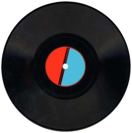 seule record vieux rétro vynil 78 tours audio avec des rayures, label rouge et bleu