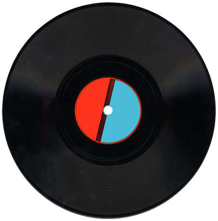 single old retro vynil 78rpm audio record with scratches, red and blue label