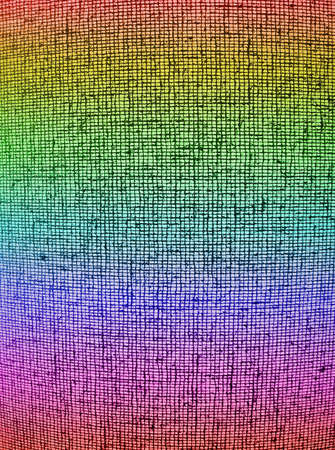 focus on center. abstract chaotic rainbow grid background texture, textile details Stock Photo - 11066630