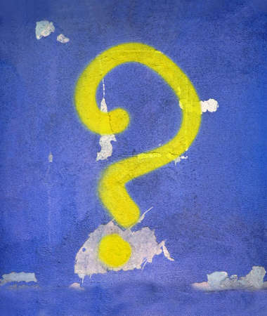 abstract yellow question sign on vintage blue wall, graffiti painting details Stock Photo - 11066628