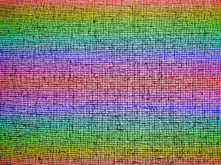 focus on center. abstract chaotic rainbow grid background texture, textile details Stock Photo - 11226870