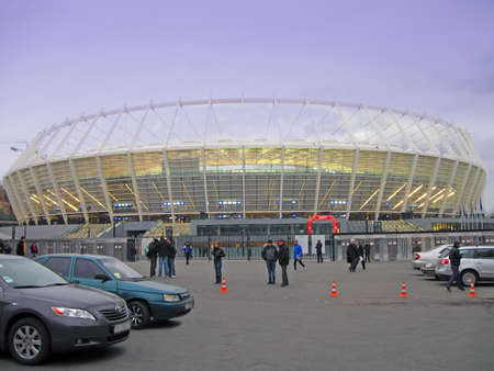 new sport olympic stadium in kiev (ukraine, europe). modern building with power lighting for euro 2012 championship. modern building was open on october 8, 2011.
