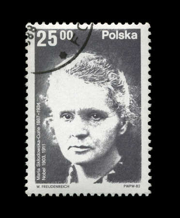 overprint: POLAND - CIRCA 1982: cancelled stamp printed in Poland, shows famous polish nobel prize winner in 1903, 1911 - physicist Marie Sklodowska-Curie (1867-1934), circa 1982. Well-known scientist, radioactivity observer. Stock Photo