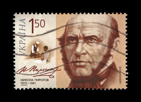 nikolay: UKRAINE - CIRCA 2010: cancelled stamp printed in Ukraine, shows famous russian medical specialist, surgeon Nikolay Pirogov (1810-1881) - with personal signature, circa 2010.