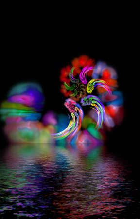 abstract magic hurricane over dark water, mystic color lines diversity photo