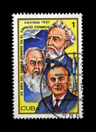 CUBA - CIRCA 1981. cancelled stamp printed in CUBA, shows famous scientist Sergey Korolyov, Konstantin Tsiolkovsky, Friedrich Zander, space shuttle, circa 1981. 20th anniversary of first space rocket flight. vintage post stamp on black background.