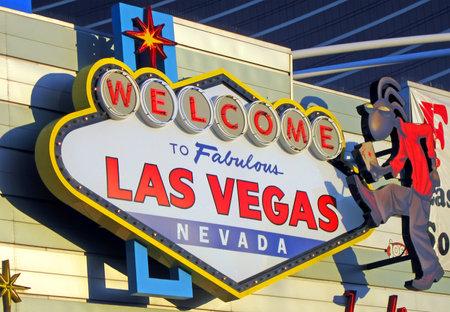 APRIL 11, 2011 - LAS VEGAS: fabulous Las Vegas logotype on the wall  of supermarket, Nevada State, USA, 2011