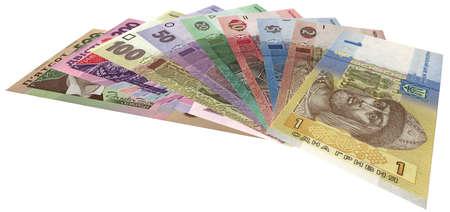 ukrainian money (hryvnas) isolated on white background, income details Stock Photo - 12370588