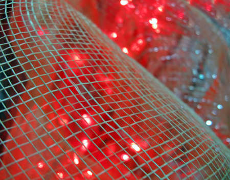 abstract red lights over interior grid, power details Stock Photo - 12370628
