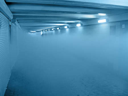 abstract fire smog in blue tunnel, interior details