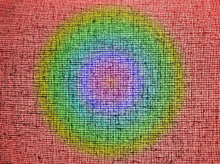 focus on center. abstract chaotic rainbow grid background texture, textile details photo