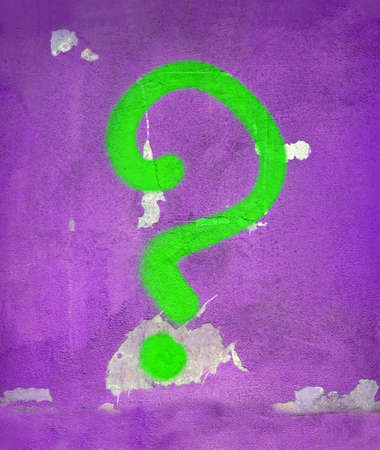 abstract green question sign on vintage wall, graffiti painting details photo