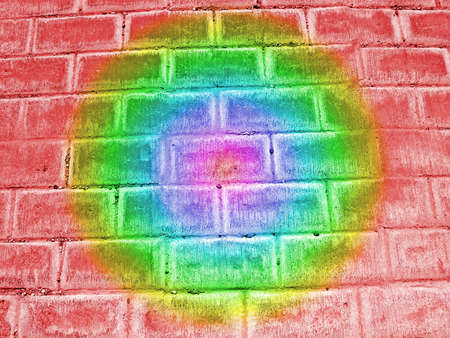 abstract damaged rainbow brick wall background, rainbow colors photo