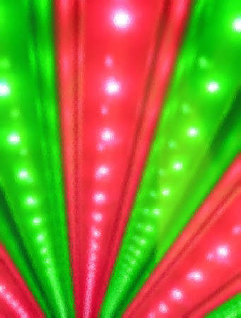 abstract green and red disco power lighting  under glass, entertainment details photo