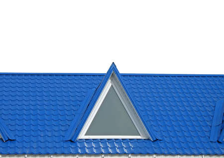 blue color tile roof isolated on white background. new triangle tiled construction concept