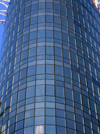 new high glass reflective building with many big windows  construction concept Stock Photo - 12370729