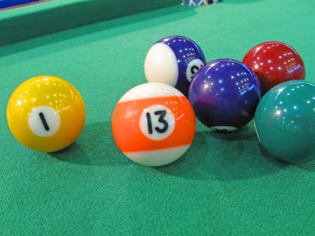 billiard-table with colorful balls  billiards sport concept photo