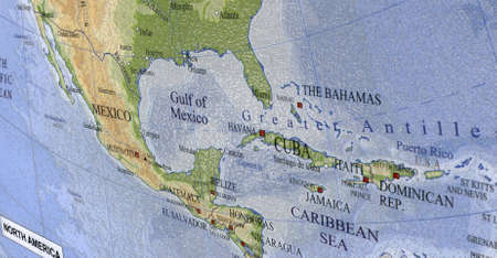 Colorful Map Of Canada Usa Closeup Macro Paper Texture New Travel Concept Bahamas Haiti