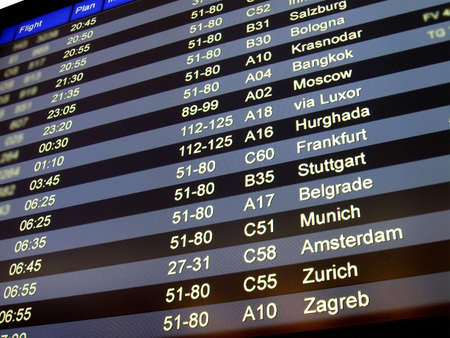 airport flight schedule board showing the aeroplane flight number, status  go to gate, boarding, delay , gate numbers  gateway  for boarding and checkin  check in  time  big colorful led  lcd  display  Modern plane is most universal idea for global earth  Stock Photo - 12315839