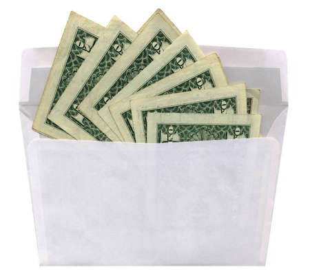 one isolated white envelope with green american dollars on white background. new crisis salary money concept.  photo
