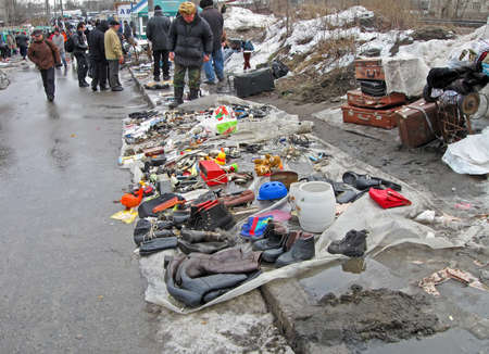 abstract unofficial street market. retro items sale on the asphalt, ussr nostalgia details
