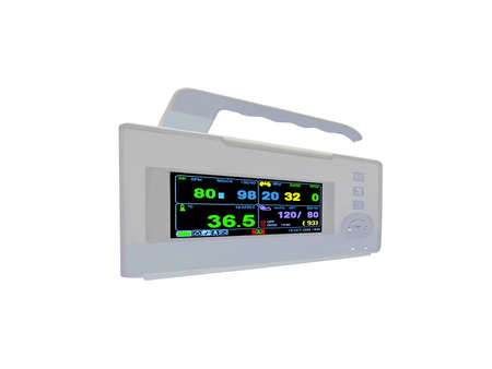 digital color cardiovascular portable monitor display the cardio diagnostic results of patient photo