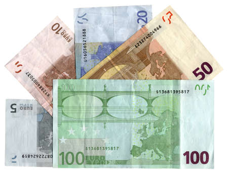 pile of different grunge  grungy  colorful money  savings in 5, 10, 20, 50, 100 euros banknotes  isolated on white background  Back side of banknotes  Success in business - future in your hands  Wages, credit, debt, investment, bank business depends on mo