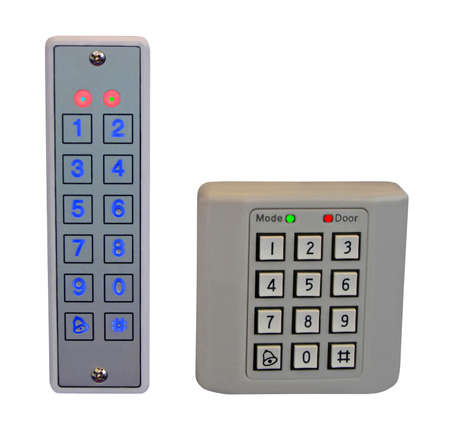 two electronic digital safe pass control panel (front-end and backend), high protect security, led display.  Stock Photo - 12845137