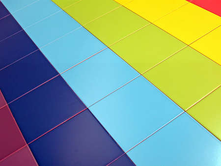 color tiled rectangles wall, new colorful rainbow tile construction concept Stock Photo - 12845240