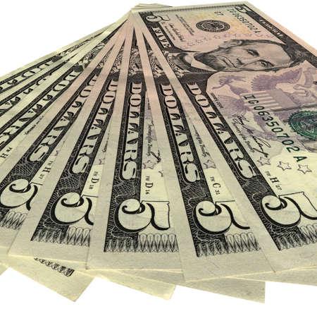 five objects: mucchio di soldi (dollari americani ci risparmi) isolato su sfondo bianco. Fan di cinque banconote in dollari. Il successo negli affari - futuro nelle vostre mani. Salari, credito, debito, gli investimenti, affari della banca dipende dal denaro.