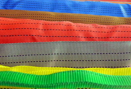 focus on center line  new colorful belt diversity  macro closeup textile texture concept Stock Photo - 13014532