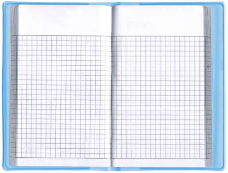 single blank notepad, business organizer, blue color document  empty spread page, isolated on white background  free space for text available  new advertise concept  photo