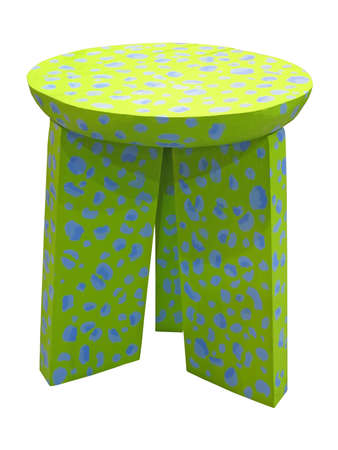 one new green color wood chair with blue spots isolated on white background. modern interior details photo