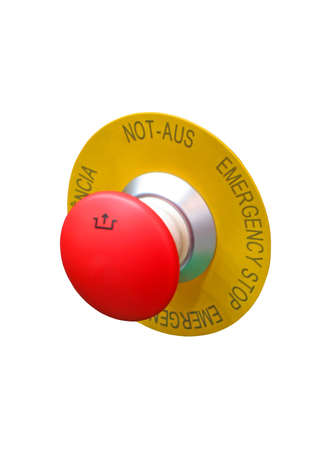 one red button isolated on white background, new security concept. focus on button sign. photo