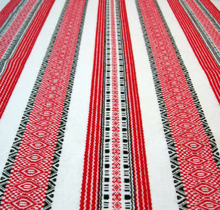 ukrainian table-cloth textile pattern, handmade towel design  photo