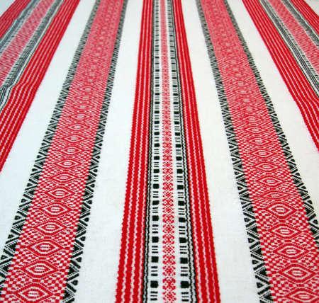 ukrainian table-cloth textile pattern, handmade towel design  photo