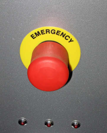one red button on grey metallic surface, new security concept photo