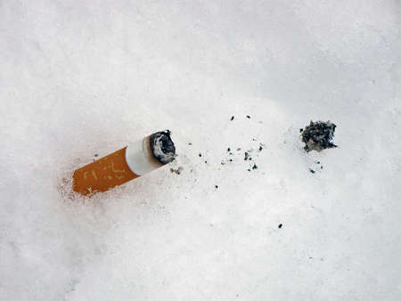 wasted: one wasted cigarette with ashes on white snow as cancer protection, stop smoking healthcare concept