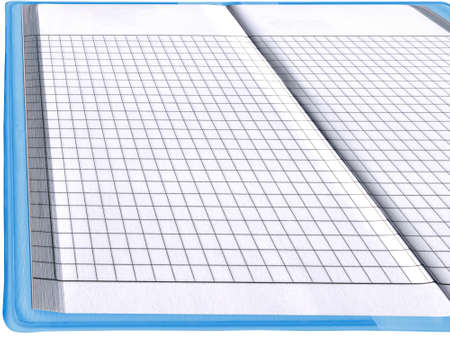 single blank notepad, business organizer, blue color document  empty spread page, isolated on white background  free space for text available  new advertise concept Stock Photo - 13591327