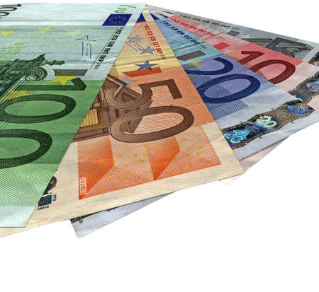 pile of different grunge  grungy  colourful money  savings in 5, 10, 20, 50, 100 euro banknotes  isolated on white background  Success in business - future in your hands  Wages, credit, debt, investment, bank business depends on money  Different colors  b photo