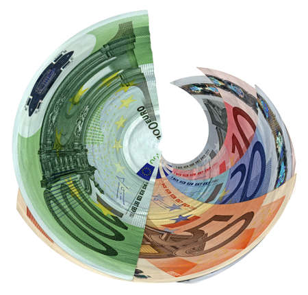 different colourful money tornado  savings euro banknotes  isolated on white background  Success in business - future in your hands  Wages, credit, debt, investment, bank business depends on money  Different colors  Paper texture, closeup macro photo