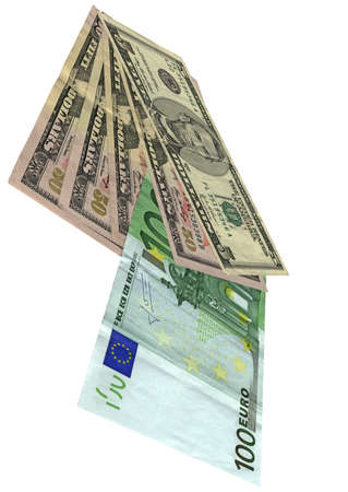 pile of grunge  grungy  money  savings in 5, 50 american dollars, 100 euros banknotes  isolated on white background  Success in business - future in your hands  Wages, credit, debt, investment, bank business depends on money  Different colors  yellow, red Stock Photo - 13748356