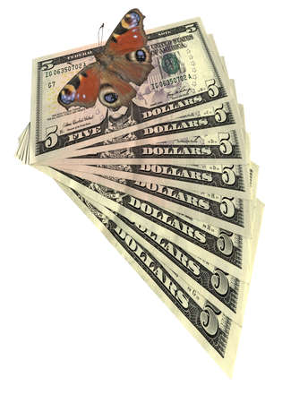 butterfly fly over american dollars banknotes  pile of money  us dollars savings  isolated on white background  Fan of five dollar banknotes   photo