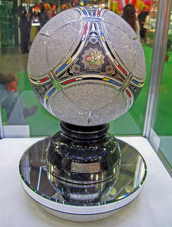 metal brilliant football ball under glass box, jewellery object devoted to EURO 2012 foolball tournament in Poland and Ukraine in summer 2012.