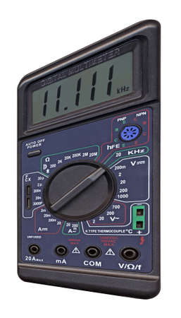single new black color digital multimeter with switch for electronic test. photo