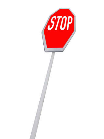 stop road sign (red color) isolated in white background. See on sign before moving - your security in your hands. carefully read and understand the road sign - the best way to reduce unexpected road incident. New abstract security transportation concept. photo